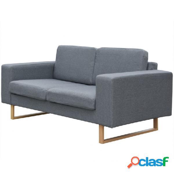Sofá de 2 plazas tela gris claro vida xl