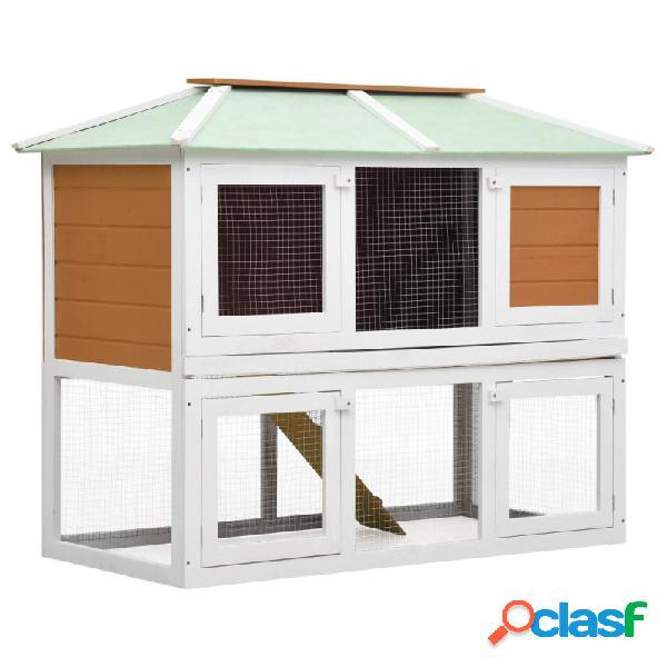 Conejera jaula de animales con doble piso de madera vida xl