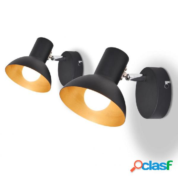 Lámparas de pared para 2 bombillas e27 negra dorada 2 unidades vida xl