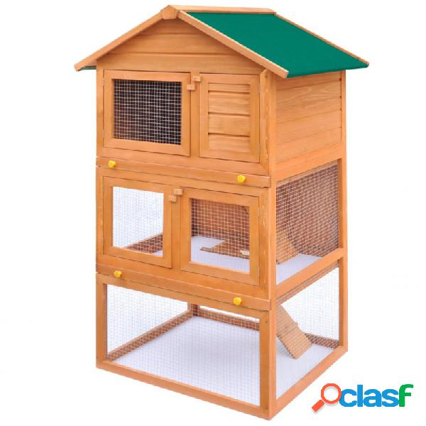 Casa de animales pequeños jaula conejera 3 niveles madera vida xl