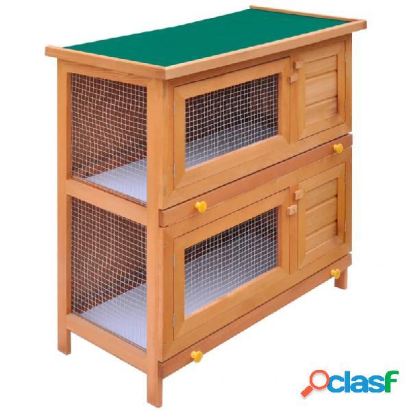Casa de animales pequeños jaula conejera 4 puertas madera vida xl