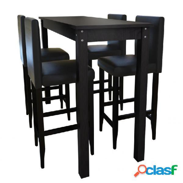 Mesa alta de cocina con 4 sillas de barra negras vida xl