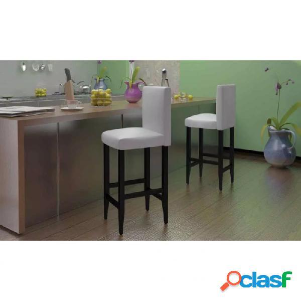 Taburetes de cocina 4 unidades cuero artificial blanco vida xl