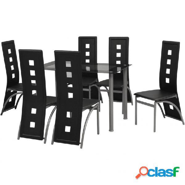 Conjunto de comedor de siete piezas negro vida xl
