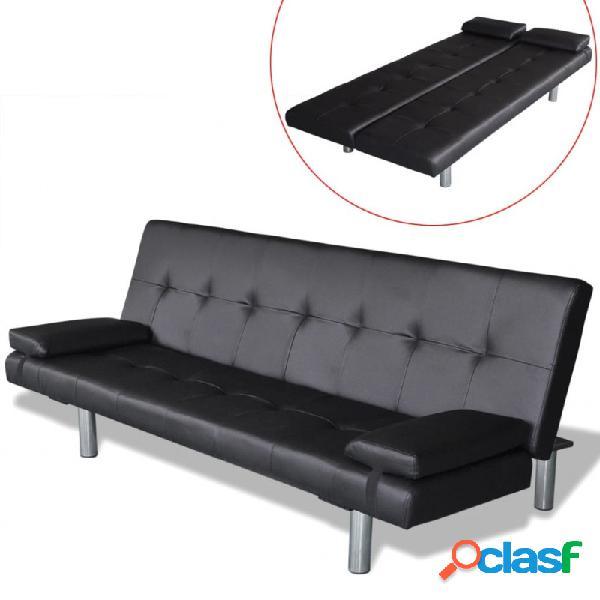 Sofá cama con dos almohadas ajustable cuero artificial negro vida xl