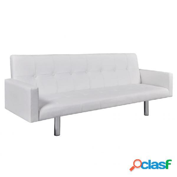 Sofá cama con reposabrazos de cuero artificial blanco vida xl