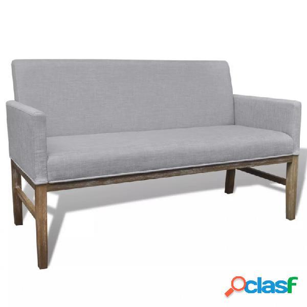 Sofá con cojín acolchado de tela ymadera de caucho gris claro vida xl
