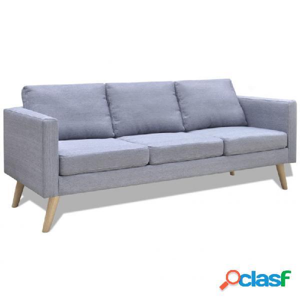 Sofá de 3 plazas de tela gris claro vida xl