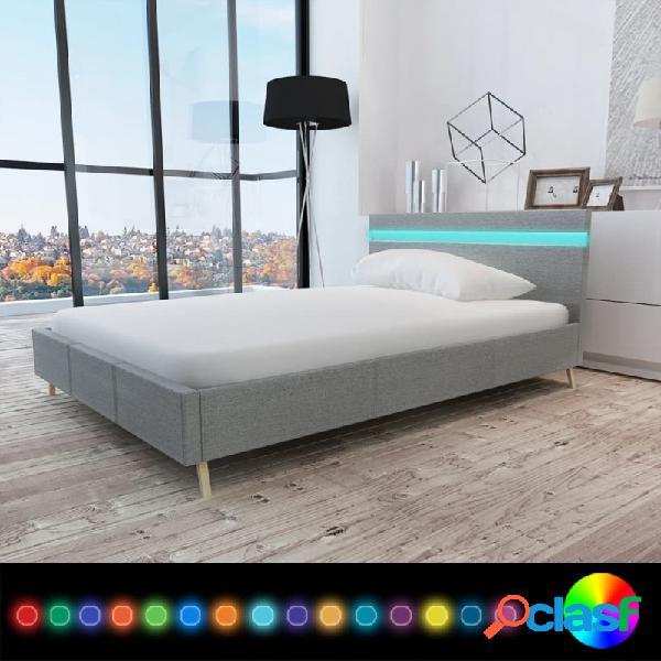 Estructura de cama con led tela gris claro 140x200cm vida xl