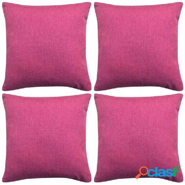 Fundas de cojines 4 uds apariencia de lino rosa 80x80 vida xl