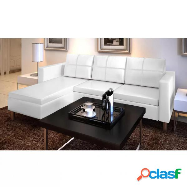 Sofá modular de 3 plazas de cuero artificial blanco vida xl