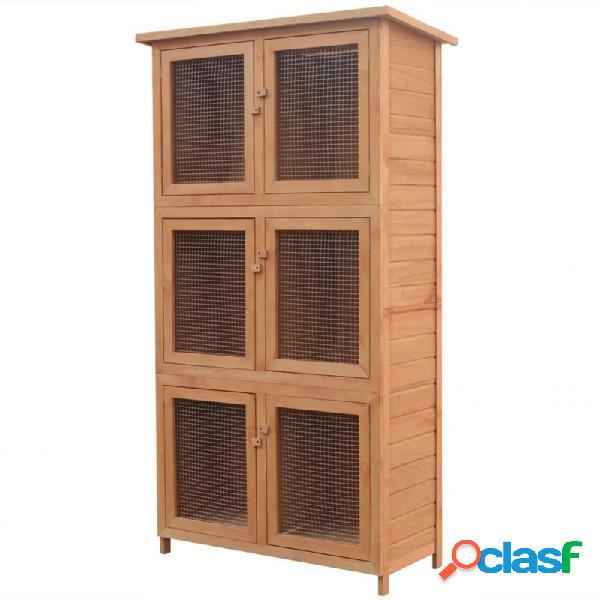 Jaula de animales conejera 6 habitaciones madera vida xl