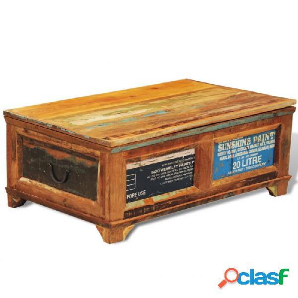 Mesa de centro vintage con almacenaje madera reciclada vida xl