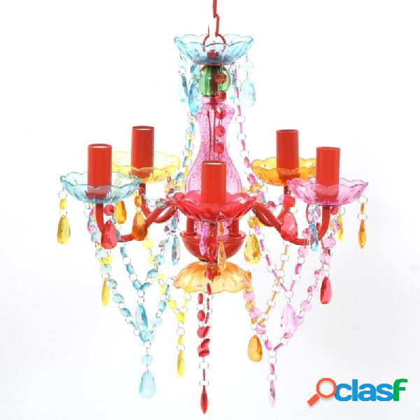 Lámpara araña de techo con cristales de varios colores 5 bombillas vida xl