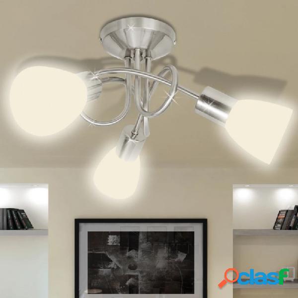 Lámpara de techo con pantallas de cristal para 3 bombillas e14 vida xl