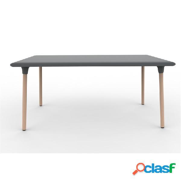 Mesa rectangular color gris oscuro wood new flash de resol