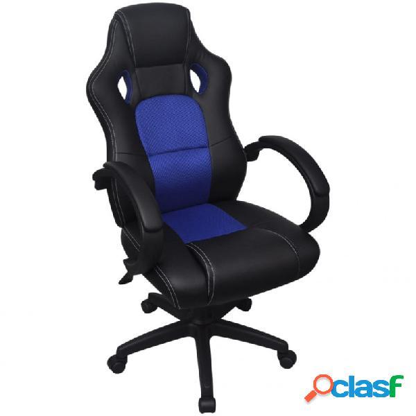 Silla de oficina ejecutiva de carreras azul cuero sintético vida xl