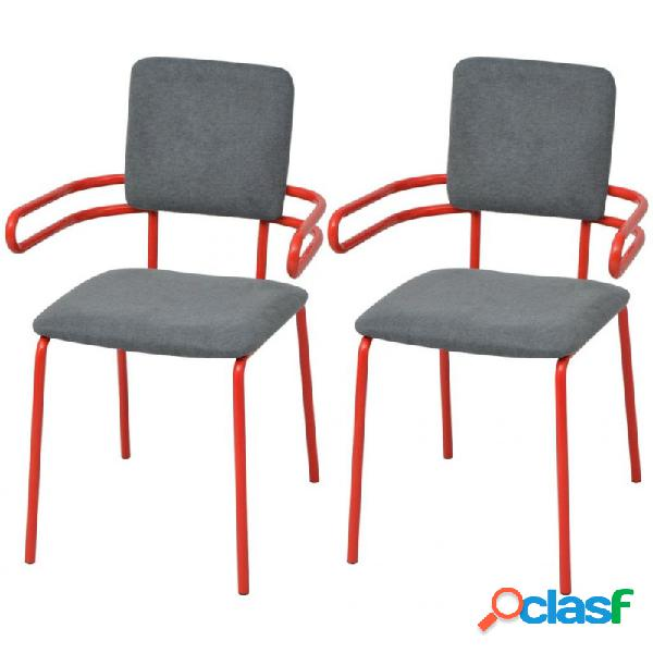 Sillas de comedor 2 unidades tela roja y gris vida xl