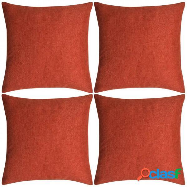 Fundas de cojines 4 uds apariencia de lino terracota 50x50 vida xl
