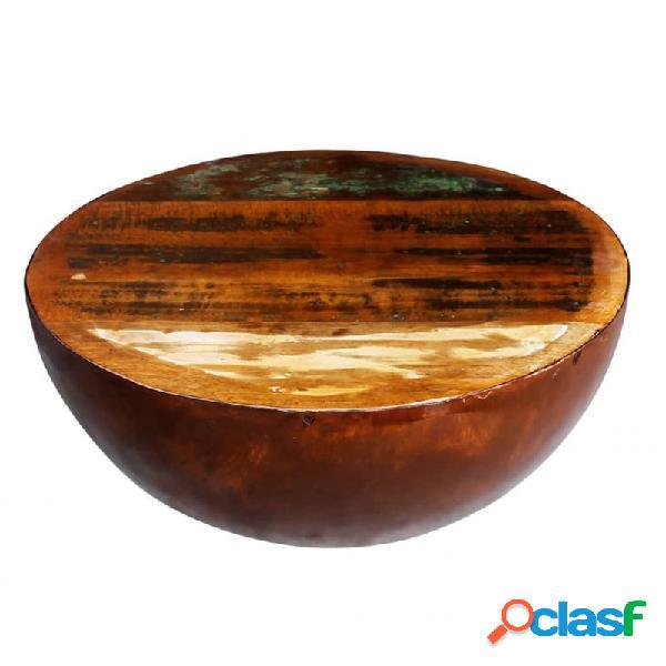 Mesa de centro semiesfera de madera reciclada y base de acero vida xl