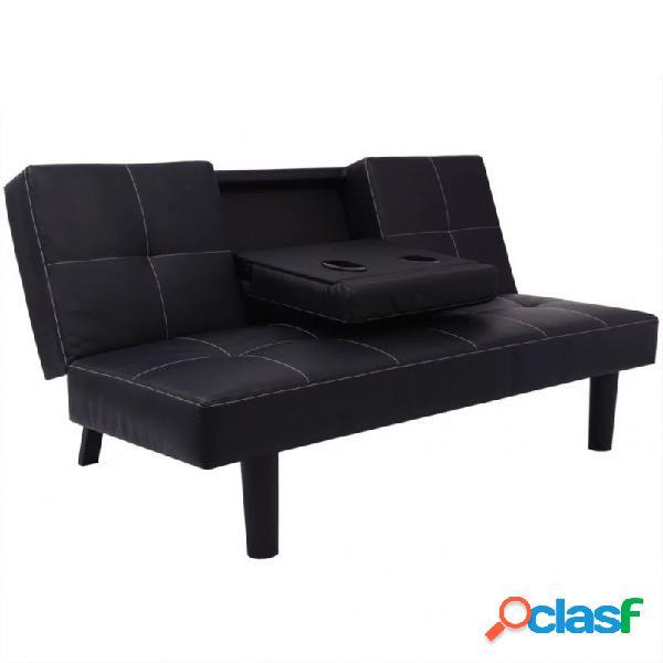 Sofá cama conesa desplegable de cuero artificial de color negro vida xl