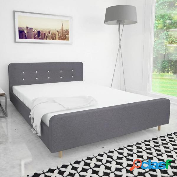 Estructura de cama de tela gris claro 140x200cm vida xl