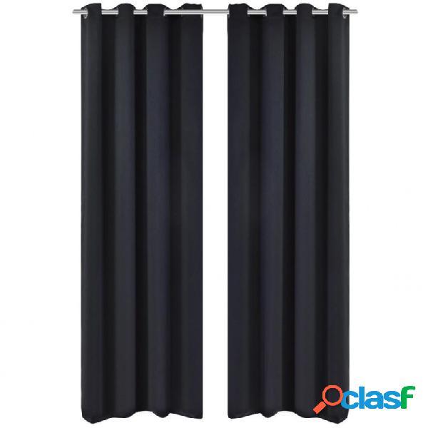 2 cortinas negras oscuras con anillas metálicas, blackout 135 x 245 cm vida xl