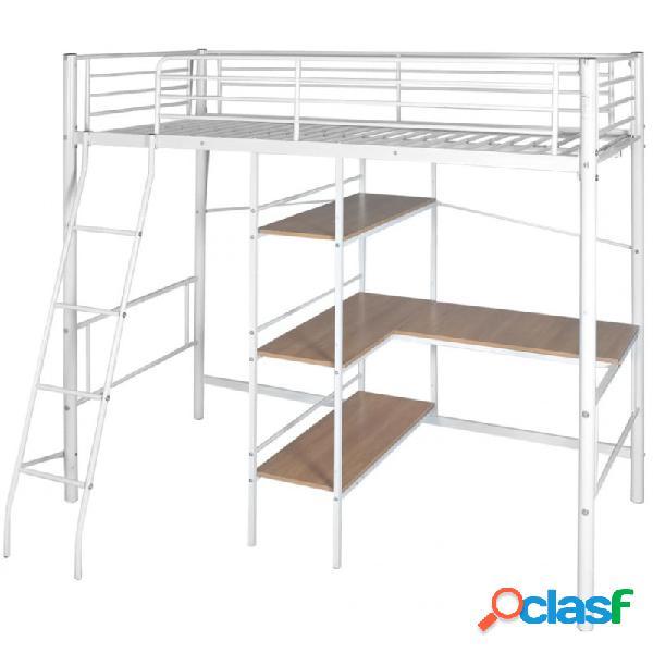 Cama alta con escritorio deetal blanca yarrón 90x200cm vida xl