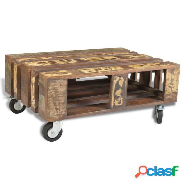 Mesa de centro con 4 ruedas de madera reciclada vida xl