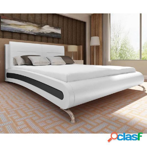 Cama con colchón cuero sintético blanco y negro 140x200cm vida xl