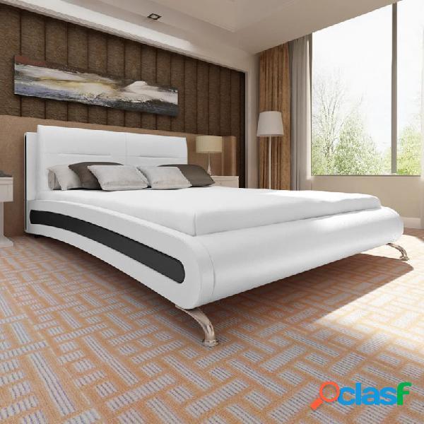 Cama con colchón cuero sintético blanco y negro 180x200cm vida xl