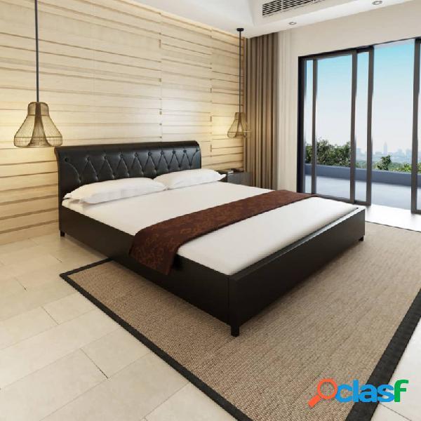Cama con colchón viscoelástico cuero sintético blanco 180x200cm vida xl
