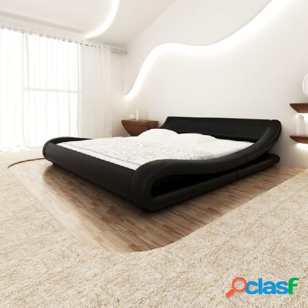 Cama con colchón viscoelástico cuero sintético negro 140x200cm vida xl