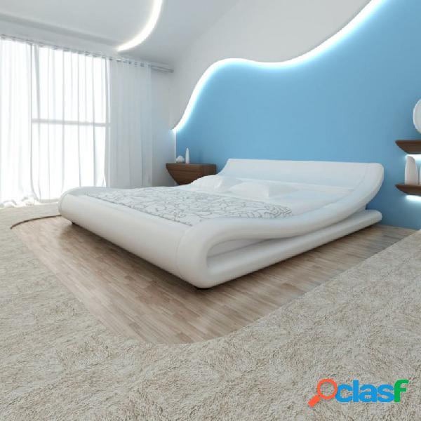 Cama doble de cuero blanco artificial con colchón 180x200cm vida xl
