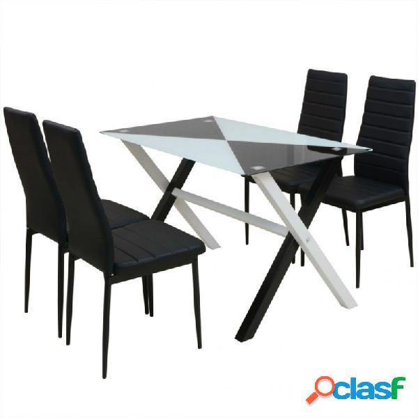 Conjunto de comedormesa y sillas cinco piezas color blanco y negro vida xl