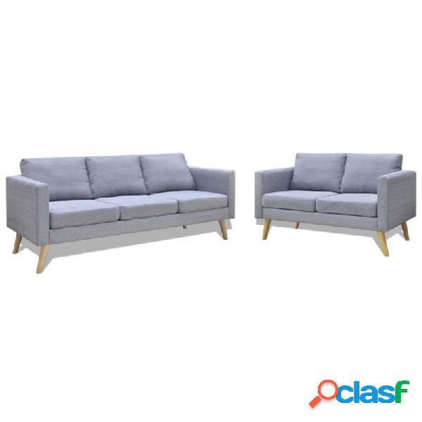 Conjunto de sofás de 2 y 3 plazas de tela gris claro vida xl