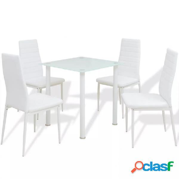 Conjunto demesas y sillas de comedor de cinco piezas blanco vida xl
