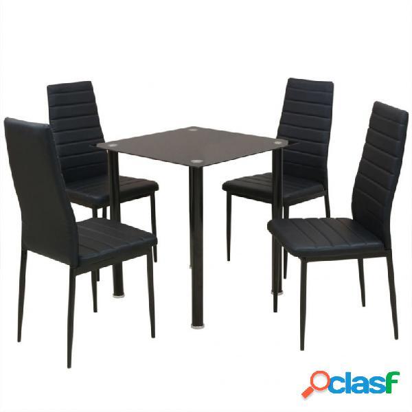 Conjunto demesas y sillas de comedor de cinco piezas negro vida xl