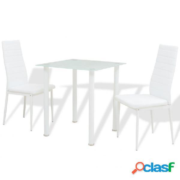 Conjunto demesas y sillas de comedor de tres piezas en color blanco vida xl