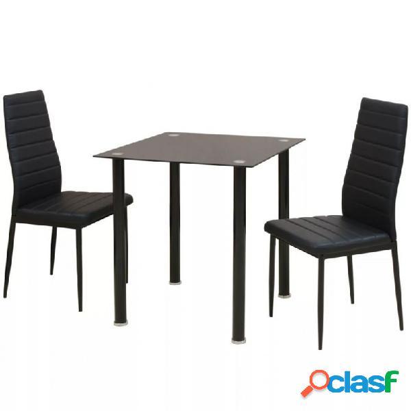 Conjunto demesas y sillas de comedor de tres piezas negro vida xl
