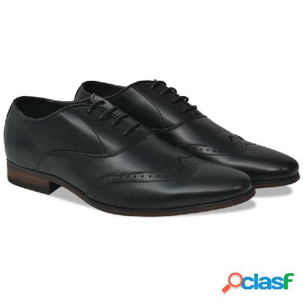 Zapatos de vestir hombre calados cordones negros t 40 cuero pu vida xl