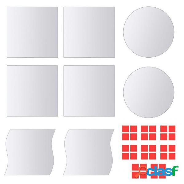 Azulejos de espejo de diversas formas vidrio 8 unidades vida xl
