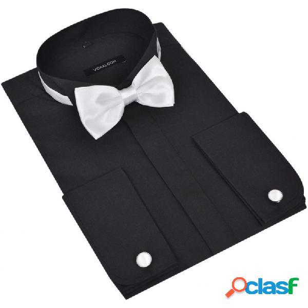 Camisa de esmoquin para hombre con gemelos y pajarita, talla s, negro vida xl