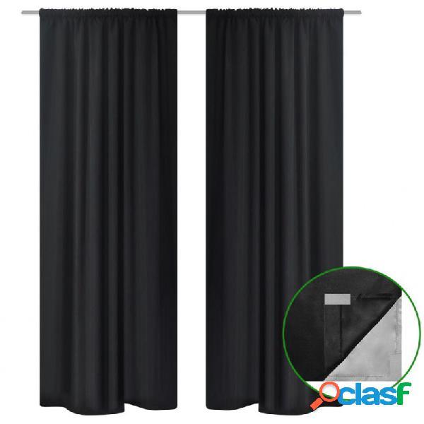 Cortinas opacas 2 piezas doble capa 140x175 negra vida xl