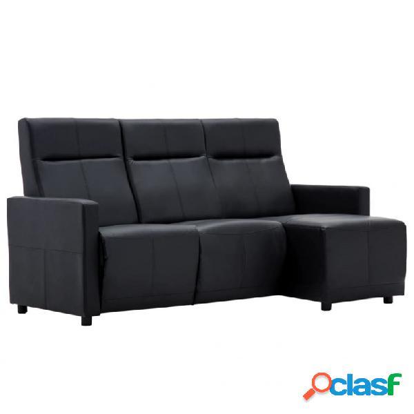 Sofá reclinable en forma de l de cuero sintético negro vida xl