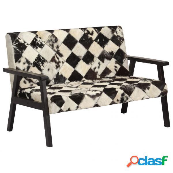 Sofá de 2 plazas cuero auténtico de cabra blanco y negro vida xl