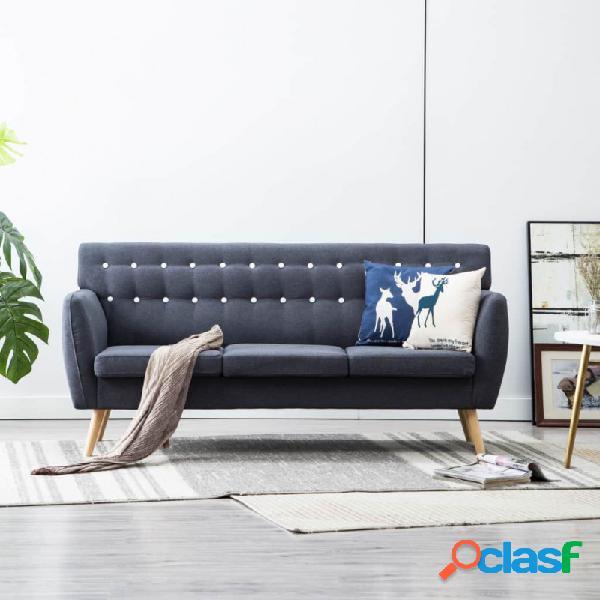 Sofá de 3 plazas tapizado de tela 172x70x82cm gris oscuro vida xl