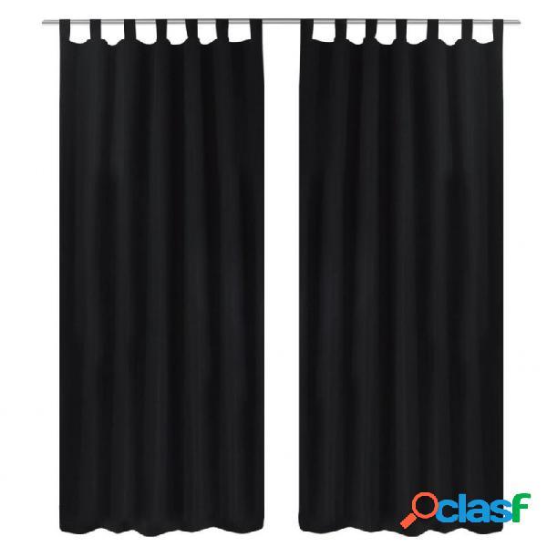 2 cortinas negras micro-satinadas con trabillas, 140 x 175 cm vida xl