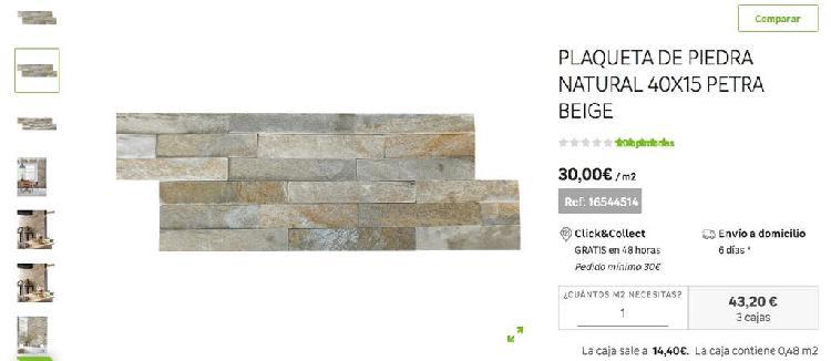3 cajas plaqueta piedra natural 40x15 leroy merlin