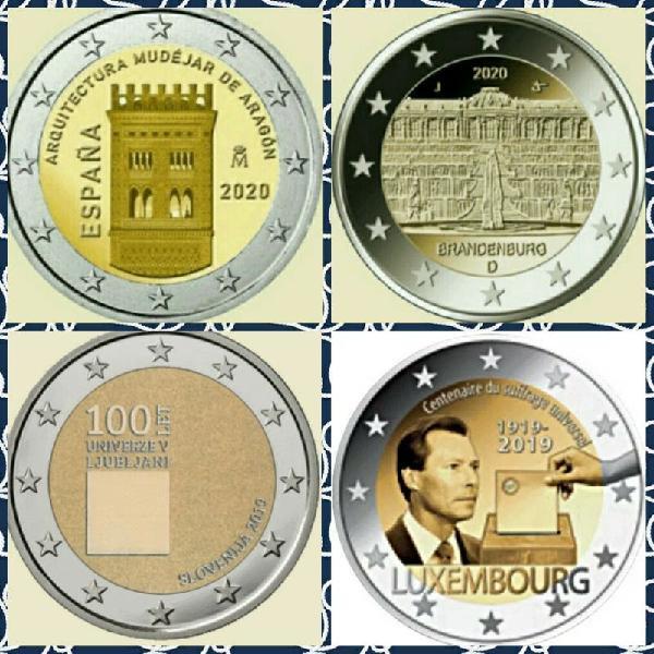 Lote 4 monedas de 2 euros, sin circular